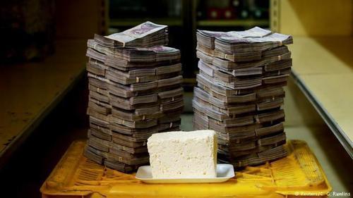 قیمت یک کیلوگرم پنیر به قیمت 1.14 دلار نیازمند 7500 اسکناس 1000 بولیواری است