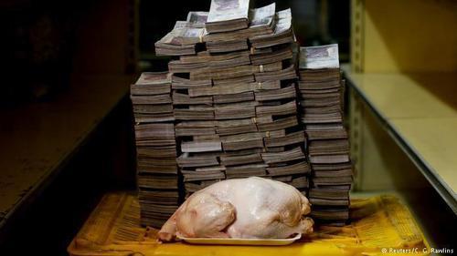 ید یک مرغ به وزن 2.5 کیلوگرم به قیمت یک میلیون و 460هزار بولیوار معادل 2.22 دلار