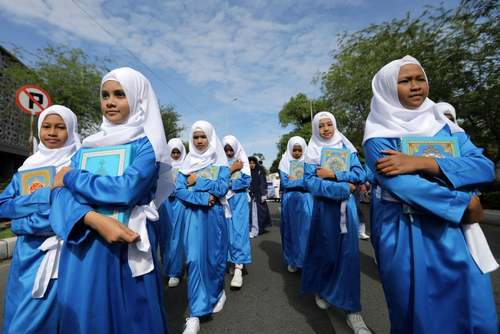 دانش آموزان استان آچه اندونزی در جشن سال نو اسلامی – قمری- EPA