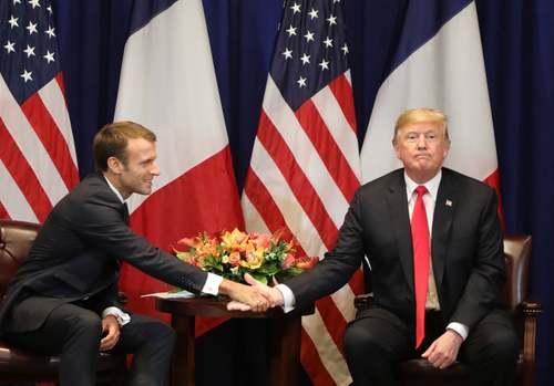 دیدار ترامپ و ماکرون در حاشیه نشست سالانه مجمع عمومی ملل متحد در نیویورک/ خبرگزاری فرانسه