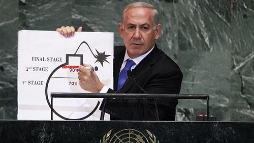 بنیامین نتانیاهو - ۲۰۱۲بنیامین نتانیاهو، نخست وزیر اسرائیل با در دست داشتن یک نقاشی از بمب و کشیدن یک خط قرمز بر روی آن گفت که باید با توسعه سلاحهای هستهای ایران مقابله شود. وی با استفاده از این نقاشی سعی کرد نشان دهد که ایران به اتمام مرحله دوم غنی سازی هستهای نزدیک شده است.نتانیاهو گفت: «ایران را در حالی که سلاح هستهای دارد تجسم کنید. در این صورت چه کسی در خاورمیانه احساس امنیت میکند؟ چه کسی در اروپا در امان خواهد بود؟ چه کسی در آمریکا در امان خواهد بود؟ چه کسی در هر کجا در امان خواهد بود؟»