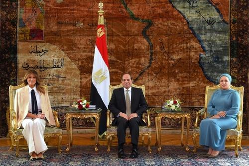 دیدار عبدالفتاح سیسی رئیس جمهوری مصر و همسرش با ملانیا - قاهره