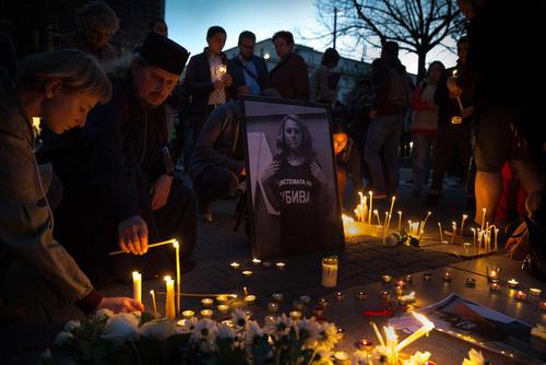شهروندان بلغاری در شهر صوفیه به یاد
