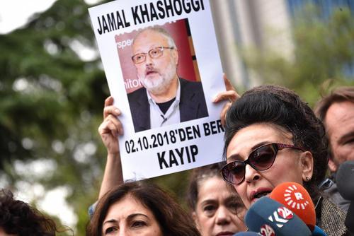 تظاهرات در مقابل کنسولگری عربستان سعودی در استانبول در اعتراض به وضعیت نامعلوم