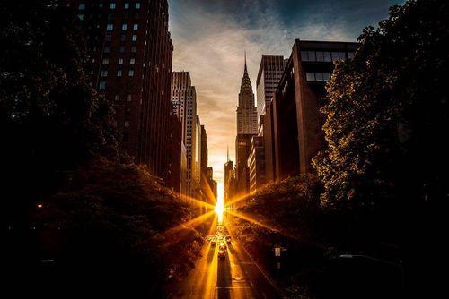 غروب آفتاب در محله منهتن نیویورک/ عکس روز وب سایت