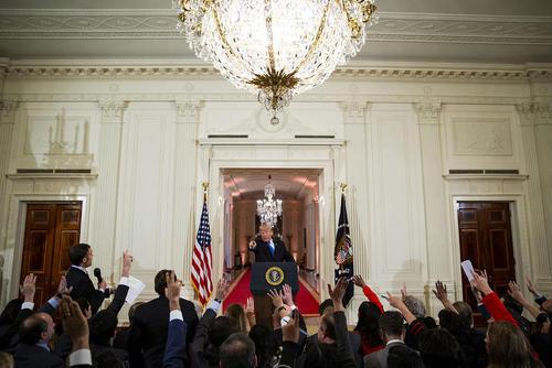 نشست خبری ترامپ با اصحاب رسانهها در کاخ سفید پس از انتخابات میاندورهای کنگره آمریکا/CNP