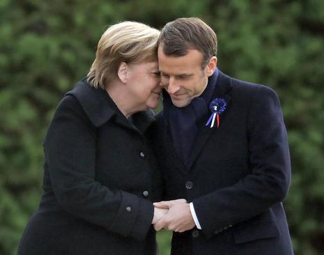 رهبران آلمان و فرانسه در مراسم یکصدمین سالگرد پایان جنگ جهانی اول در شمال فرانسه/ خبرگزاری آلمان