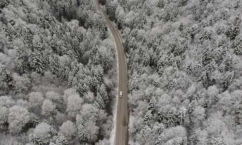 جادهای جنگلی و برفی در