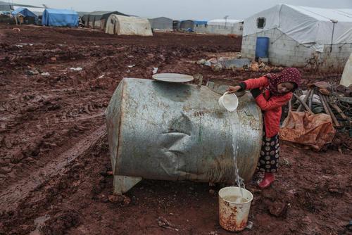 اردوگاه آوارگان در استان ادلب سوریه و در نزدیکی مرز سوریه و ترکیه/ خبرگزاری آلمان