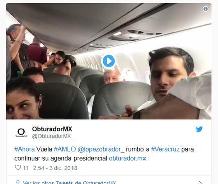 انتشار فیلم و تصاویر نخستین سفر استانی رییس جمهوری مکزیک با استفاده از یک هواپیمای عادی - تجاری