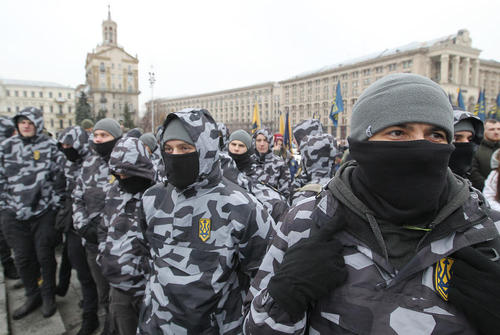 تجمع ملیگرایان ضد روسیه در شهر کییف اوکراین