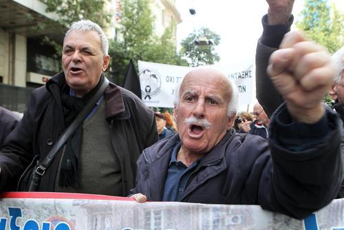 تظاهرات بازنشستههای یونانی علیه اجرای سیاستهای ریاضت اقتصادی در مرکز شهر آتن