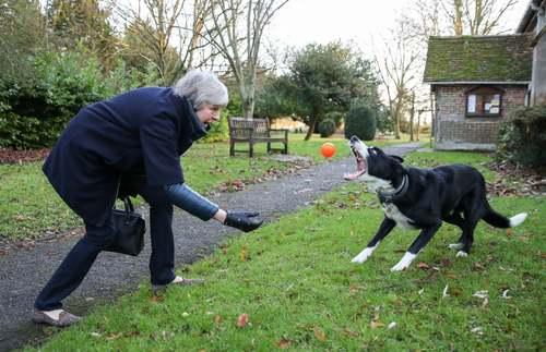 بازی نخست وزیر بریتانیا با سگ پس از شرکت در دعای روز یکشنبه کلیسا/PA