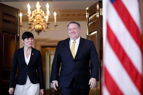 وزرای امور خارجه ایالات متحده آمریکا و نروژ در مقر وزارت خارجه آمریکا در واشنگتن/ شینهوا