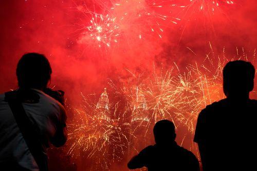 آتش بازی در مقابل برج های دوقلو پتروناس کوالالامپور/ مالزی