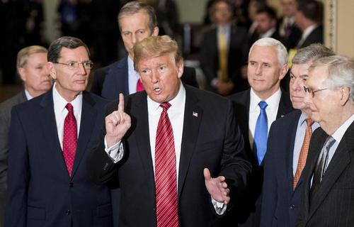 ترامپ در حاشیه ناهار کاری با جمهوریخواهان کنگره در ساختمان کنگره آمریکا در واشنگتن