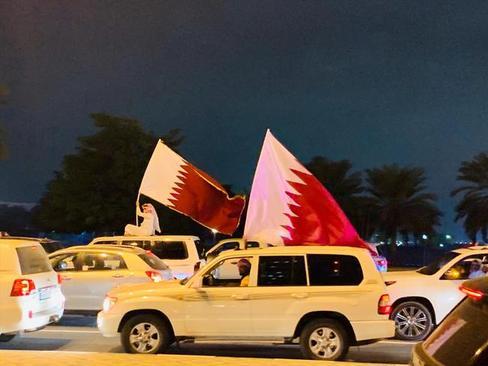 شادمانی شبانه قطریها در دوحه/ عکس: آناتولی