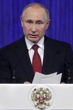 سخنرانی پوتین در کاخ کرملین به مناسبت روز سرزمین پدری در روسیه/ ایتارتاس
