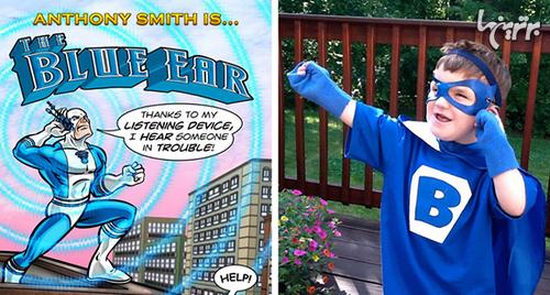 دنیای مارول ابرقهرمان «گوش آبی» را در حمایت از آنتونی اسمیت، کودکی با مشکلات شنوایی خلق کرد.