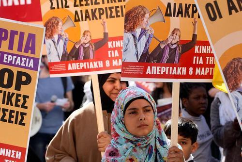 تظاهرات روز جهانی زن در شهر آتن یونان