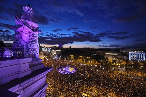 تظاهرات روز جهانی زن در شهر مادرید اسپانیا