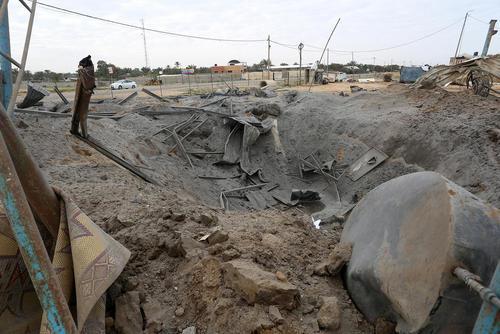 محل مورد اصابت حمله هوایی اسراییل به باریکه غزه/APA
