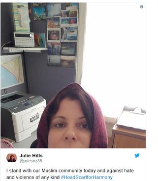 کمپین زنان غیرمسلمان در فضای مجازی نیوزیلند برای ابراز همدردی و اعلام همبستگی با جامعه مسلمانان