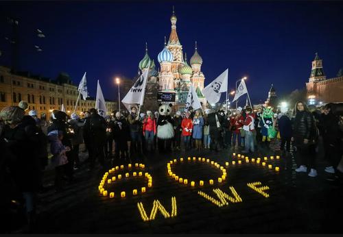 گردهمایی فعالان محیط زیست در میدان سرخ مسکو در مراسم