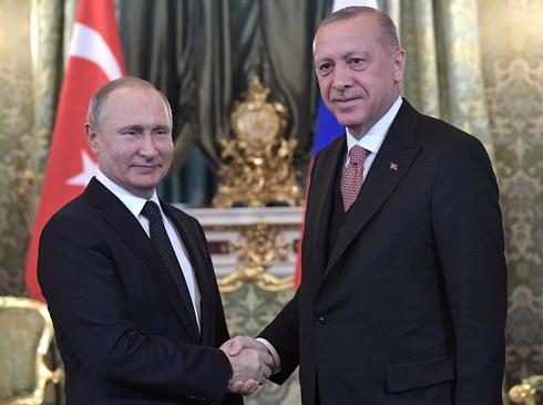 دیدار اردوغان و پوتین در کاخ کرملین در مسکو/ ایتارتاس