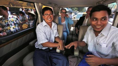 آزادی دو خبرنگار زندانی رویترز از زندان میانمار با فرمان عفو عمومی دولت