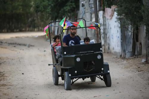 خودرو دستساز یک جوان فلسطینی در باریکه غزه/ خبرگزاری آناتولی
