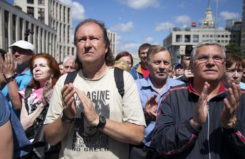 تظاهرات در مسکو علیه بازداشت روزنامه نگاران/ آسوشیتدپرس