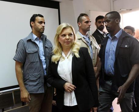 سارا نتانیاهو همسر نخست وزیر اسراییل در جلسه دادگاه در شهر قدس/ رویترز