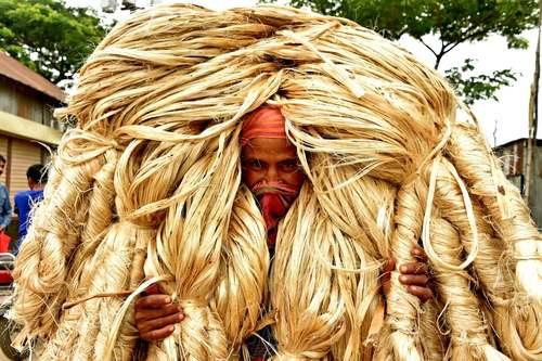 حمل بستههای کنف هندی در یک بازار عمده فورشی در بنگلادش/ شینهوا