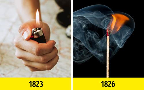 فندک (۱۸۲۳) قبل از کبریت (۱۸۲۶) اختراع شد.