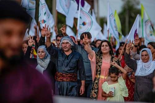 تظاهرات کردها در شهر کردنشین