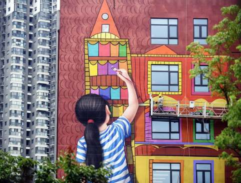 نقاشی دیواری در نانجینگ چین/ گتی ایمجز