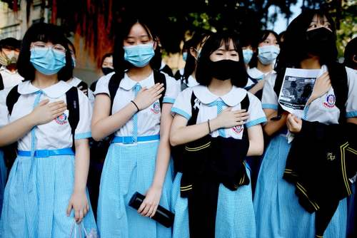 اعتراضات و تظاهرات دانش آموزان در مدارس هنگ کنگ/ خبرگزاری فرانسه