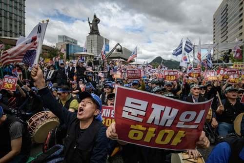 تظاهرات علیه رییس جمهوری کره جنوبی در شهر سئول/ خبرگزاری فرانسه