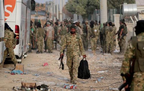 نیروهای شبهنظامی سوریه تحت حمایت ارتش ترکیه در منطقه