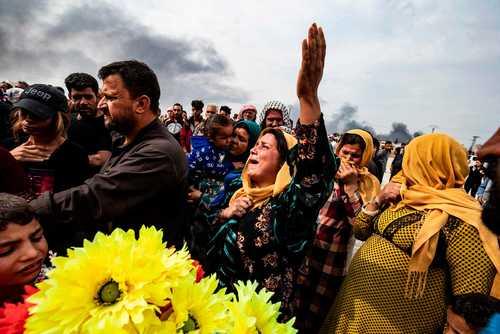مراسم تدفین کشته شدگان حملات نظامی ترکیه در شهر مرزی