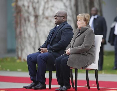 مراسم استقبال نشسته صدراعظم آلمان از رییس جمهوری دموکراتیک کنگو در برلین/ سیانان ترک