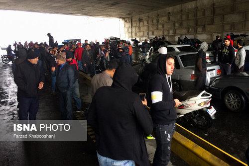 اعتراضات امروز تهران (اتوبان امام علی )در پی گرانی و سهمیهبندی بنزین
