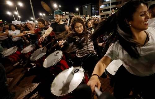 تظاهرات برضد رییس جمهوری کلمبیا در شهر