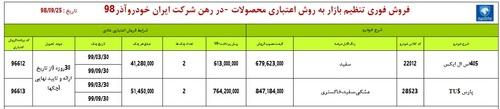 طرح فروش اقساطی ایران خودرو با 2 محصول در 25 آذر 98 (+ جدول)