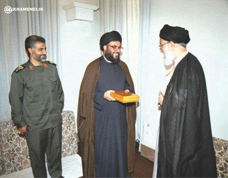 رهبری، قاسم سلیمانی و سید حسن نصرالله در یک قاب