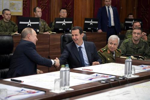 دیدار روز سهشنبه پوتین و بشار اسد در جریان سفر یک روزه پوتین به دمشق/ عکس: دفتر ریاست جمهوری روسیه