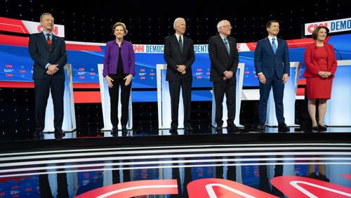 مناظره 6 نامزد دموکرات انتخابات ریاست جمهوری آمریکا در دانشگاه