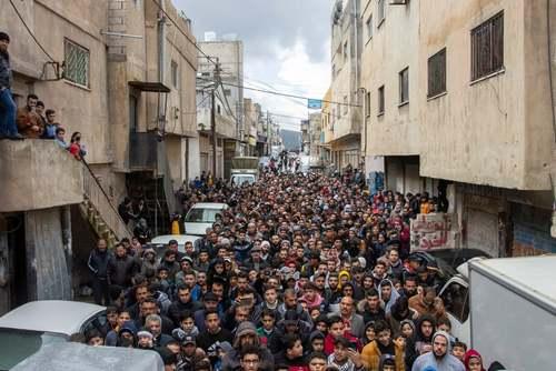 تظاهرات فلسطینیهای ساکن اردوگاه آوارگان