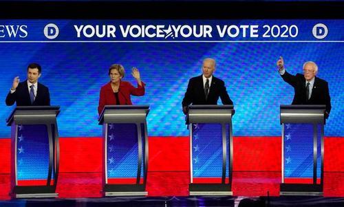 مناظره جمعه شب (دیشب) نامزدهای حزب دموکرات در ایالت نیوهمپشایر آمریکا/ رویترز